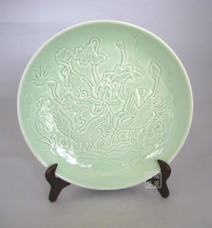 景德镇陶瓷 雕刻瓷盘 影青瓷盘 家居装饰瓷盘