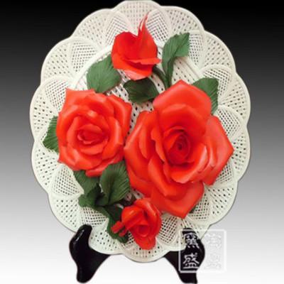 供应景德镇瓷盘 红牡丹编织陶瓷花盘 时尚创意家摆件