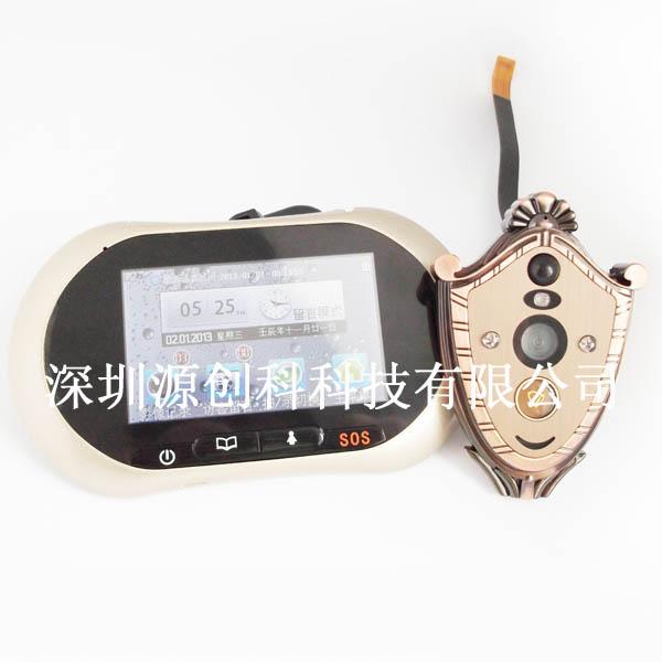 电子猫眼门铃/移动侦测/红外夜视/彩信报警/一键求救 语音通话