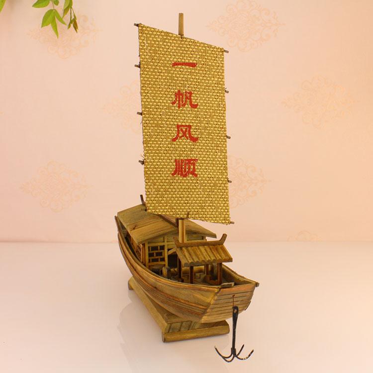 手工木质木船/创意摆设/纯手工船模