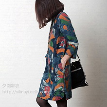 2014夏装韩版棉麻女装大码牛仔裙印花七分袖牛仔连衣裙