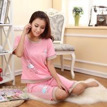 夏季短袖针织棉可爱气球柔软舒适女士睡衣套装