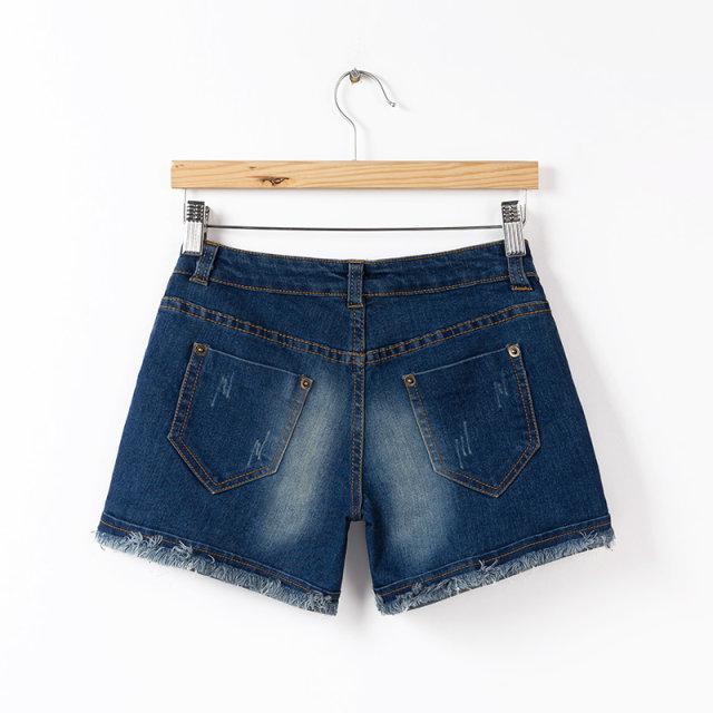 夏装新款专柜款女式磨边牛仔短裤