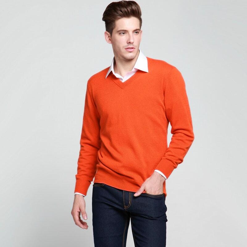 慕萨 纯羊绒衫男士鄂尔多斯市纯羊绒羊毛衣针织衫V领纯色正品男装