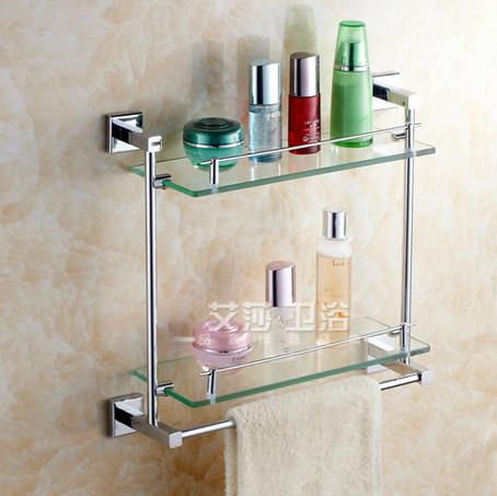 不锈钢玻璃两三层置物架仿古镀金304青花瓷烤瓷全纯铜洁具招代理