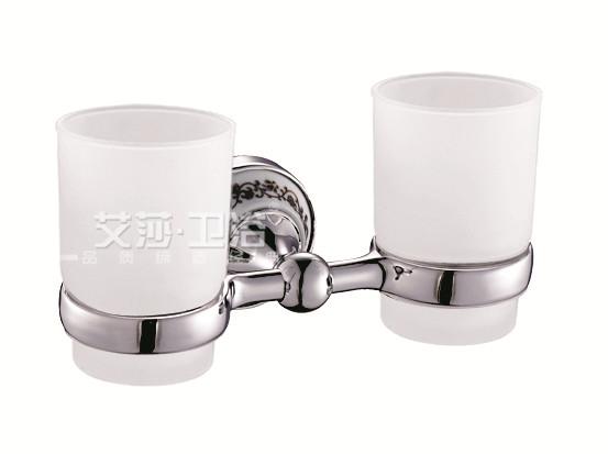 不锈钢洗手间单双三杯架仿古镀金304青花瓷烤瓷全纯铜洁具招代理