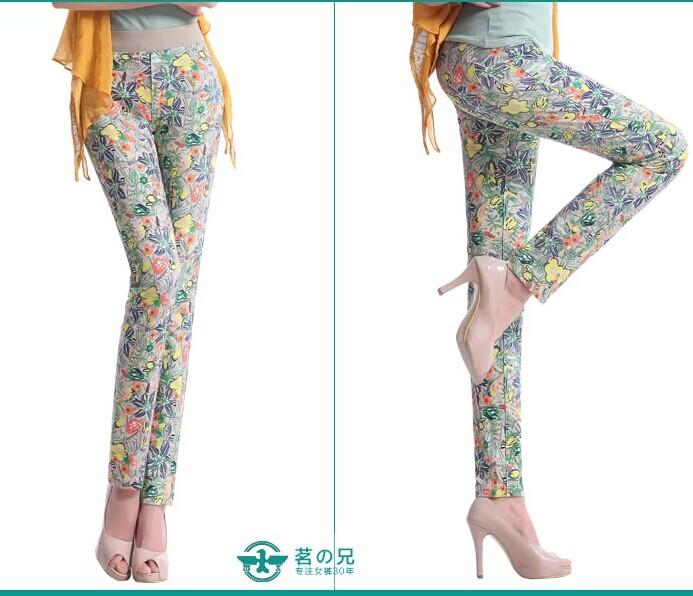 弹力印花铅笔裤韩版休闲裤修身小脚长裤