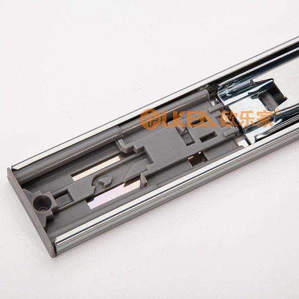 欧乐家 <抽屉反弹钢珠滑轨> 45宽反弹三节轨