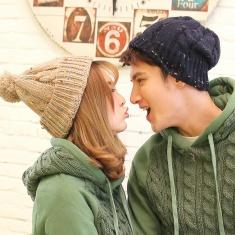 复古针织帽彩点子毛线麻花保暖情侣帽子英伦毛球帽