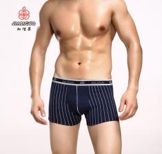 新款中腰全棉时尚条纹印花舒适透气男士内裤 平角裤