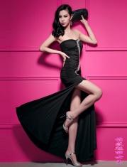 抹胸镶珠礼服洋装长裙
