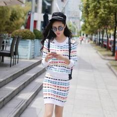 2014新款七彩条纹套头毛衣包臀连衣裙短裙套装两件套