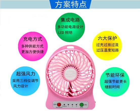 可调速移动电源小风扇