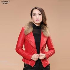 秋冬装新款韩版修身夹棉PU皮外套真毛领皮衣大码外套