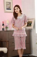 甜美公主粉色格子优雅短袖女士睡衣套装