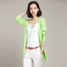 新款专柜正品镂空针织开衫女中长款羊毛衫外套百搭空调衫