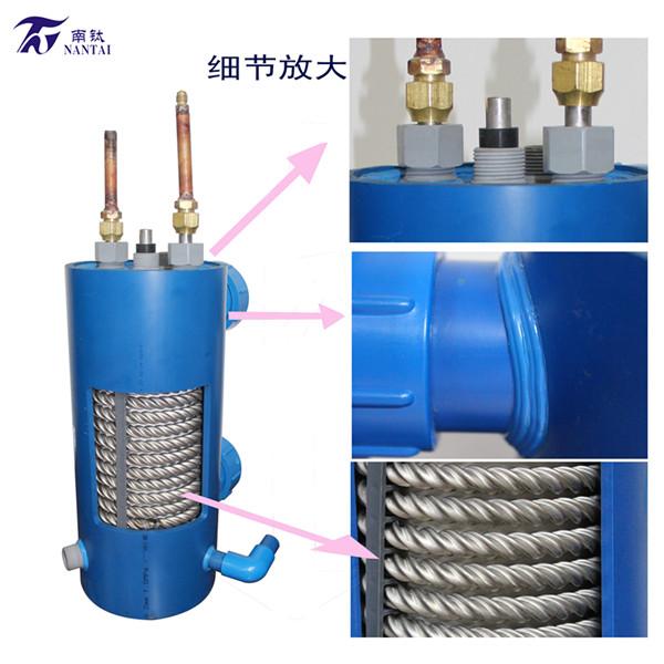 钛螺纹管换热器|泳池热泵换热器|冷水机换热器|钛管换热器