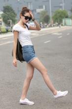 新款夏装复古高腰牛仔裤牛仔短裤热裤女