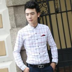 男士衬衣棉麻男装上衣韩版修身格子衬衣