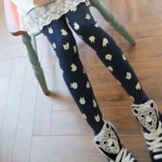 韩版新款女装美丽说可爱卡通印花显瘦小脚裤保暖打底裤