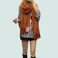 秋装新款女围巾围脖 时尚纯色加长加宽百变造型围巾