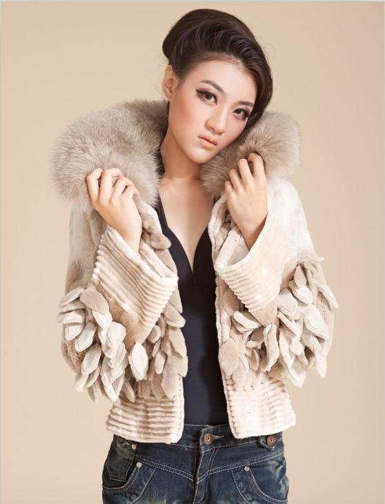 秋冬新款韩版羊绒大衣獭兔毛领毛呢大衣假两件修身毛呢外套女