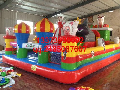 充气城堡订做 60平喜羊羊充气蹦床 充气跳跳床玩具 儿童充气城堡