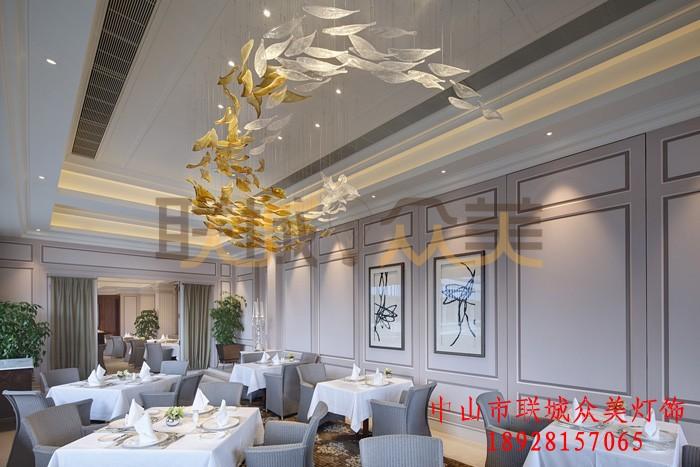 大型非标定制工程灯具灯饰会所酒店大堂餐厅装饰大吊灯艺术玻璃灯