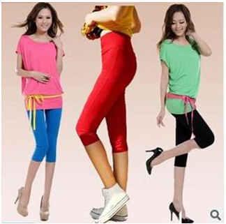 2014新款夏季女装 韩版七分铅笔裤 显瘦高腰糖果色打底裤女裤