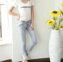 2014年新款韩版女装弹力全棉贴花烫钻水洗牛仔裤九分裤