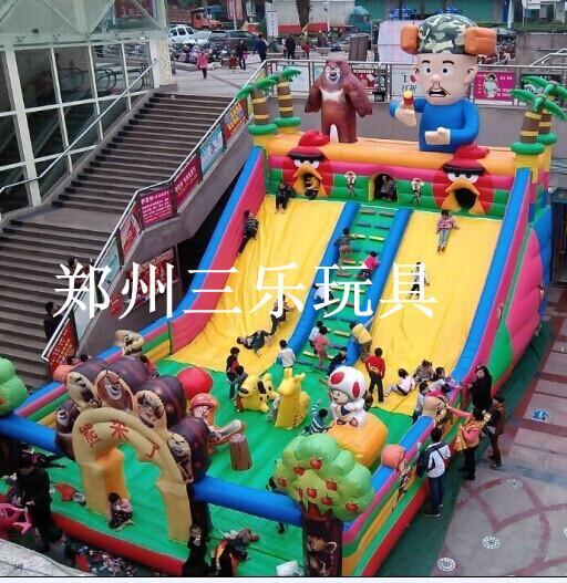 安徽新款充气跳跳床/安庆公园熊出没大滑梯收入高吗