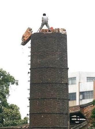 烟囱人工拆除,砖烟囱拆除公司