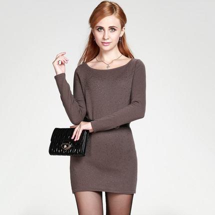 新款女士烫钻一字领羊毛衫保暖正品鄂尔多斯市产包臀特价促销