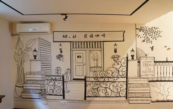 咖啡店墙绘,咖啡馆墙绘,咖啡厅墙绘