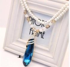 韩版水晶镶钻水滴项链吊坠彩色宝石 毛衣链项链