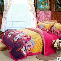 菲尼诗家纺 欧美新款超柔加厚保暖活性印花天鹅绒聚酯纤维四件套