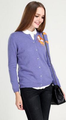 慕萨 秋冬新款韩版圆领修身图案羊绒衫女纯羊绒开衫鄂尔多斯产