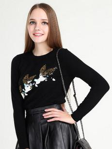 慕萨 2014秋冬新款圆领重工珠片绣小鸟纯羊绒衫女套衫毛衣针织衫