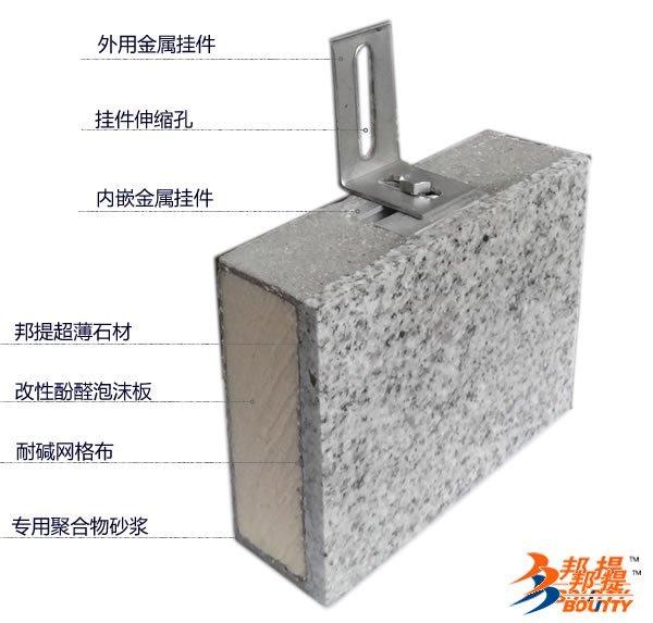 外墙外保温聚氨脂复合板超薄石材粉红麻饰面