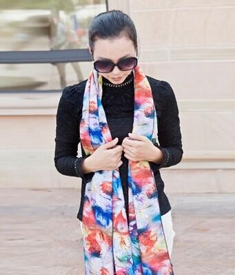 欧美大牌2014秋冬新款羊毛围巾豹纹图案大披肩超长加厚羊绒围巾女
