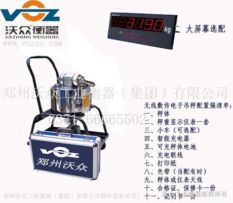 郑州沃众衡器电子吊秤标准参数信息