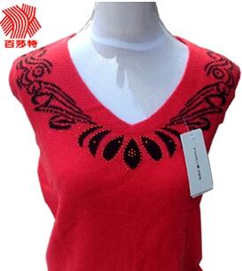 2014新品 低圆领羊绒衫 纯山羊绒镶钻提花 针织