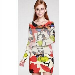慕萨正品冬女毛衣长款印花修身纯羊绒衫女产羊绒连衣裙