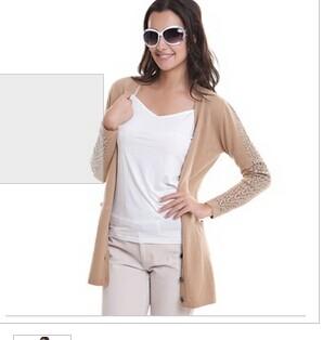 慕萨 正品羊绒开衫女纯羊绒中长修身毛衣女鄂尔多斯市产羊毛开衫