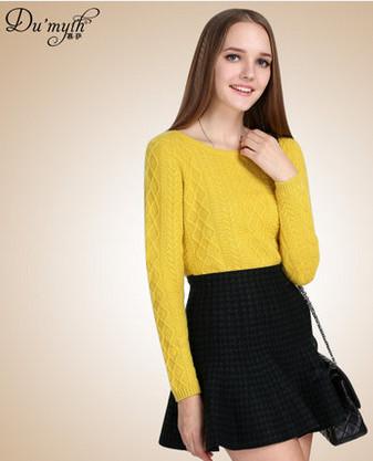 慕萨 2014秋冬新款复古菱格加厚套头纯羊绒衫女毛衣鄂尔多斯产
