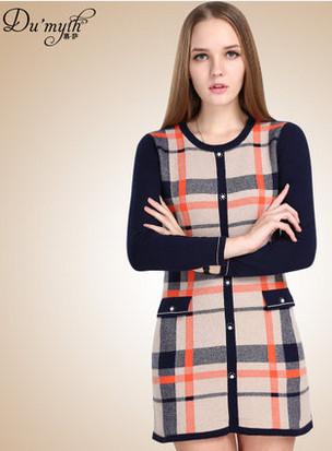 2014秋冬新款圆领小香风图案纯羊绒衫女毛衣套头中长款鄂尔多斯产