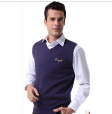 商务V领男士羊毛羊绒针织背心坎肩羊绒衫马甲