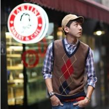 时尚韩版男装背心 棱形提花V领毛衣背心