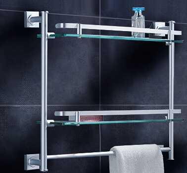 太空铝玻璃置物架-单层双层玻璃置物架-角形置物架-迪龙雅不锈钢厂