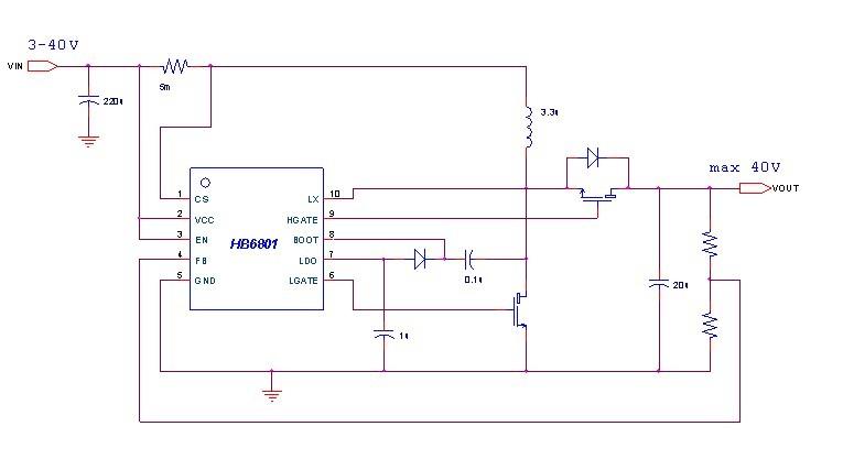 hb6801大功率20w升压ic